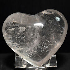 "2.5"" Rainbow Clear Quartz Heart Polished Natural Crystal Palm Stone Specimen"
