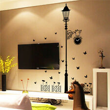 Cute Clock Street Lamp Post Butterfly Decal Sticker Wall Art DIY Mural For Home