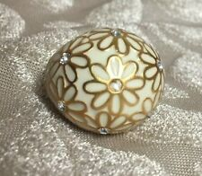 Pre-owned COACH Gold Creme Enamel & Crystal Flower Floral Dome Ring ~ Size 8
