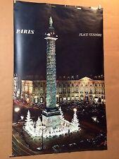 Original Vintage Travel Poster Paris France Place Vendome Airline Railroad