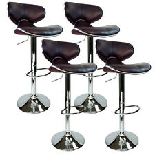 Modern Brown Barstool 4 Swivel Elegant PU Leather Adjustable Hydraulic Bar Stool