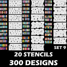 300 Airbrush Nail Art STENCIL DESIGNS Set 9 - 20 Template Sheets Kit Brush Paint