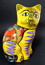 HAND PAINTED CERAMIC YELLOW CAT FIGURINE (E31)