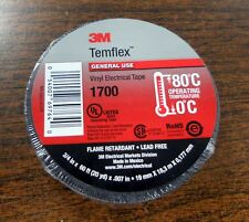 "1 Roll of 3M1700 TEMFLEX 3/4"" X 60' (20 yd) Black Electrical Tape"