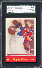 1955-56 Parkhurst #50 Jacques Plante Rookie Card SGC 92 NM-MT+ Phenomenal!