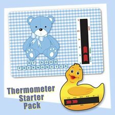 Baby Duck Bath & Blue Bear Nursery Room Thermometer Starter Pack