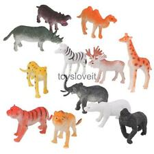 12 Plastic Tiger Lion Giraffe Zoo Wild Animals Model Childrens Toy Party Set