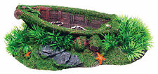 Sunken Boat with Grass Aquarium Ornament Fish Tank Decoration