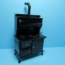 Dollhouse Miniature Kitchen Wood Burning Stove with Burner Covers ~ T6105
