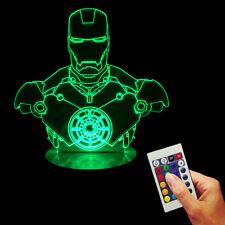 Handmade Superhero The Avenger Figure 3D USB Iron Man Bulbing Night Light