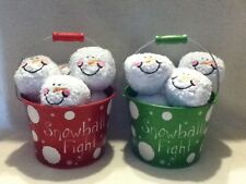 SNOWBALL FIGHT IN A BUCKET SET- ONE RED, ONE GREEN BUCKET --NEW- FREE SHIPPING