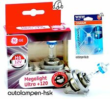 GE H4 MegaLight Ultra +120%  + OSRAM W5W COOL BLUE INTENSE 4000K + DAS SET +