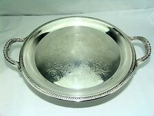 """FB ROGERS SILVER ORNATE CAKE PLATE  #1203 COCKTAIL SERVING TRAY w/ HANDLES 15.5"""""""