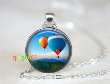 Hot air balloon glass dome Tibet silver Chain Pendant Necklace wholesale