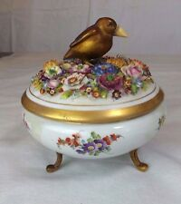 ANTIQUE DRESDEN  COVERED FOOTED CANDY DISH WITH BRASS BIRD