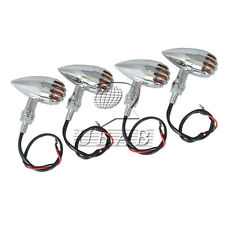 4x Bullet Grill Chrome Turn Signals Light For Harley Dyna Softail Choppe Bobber