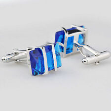 Vintage Blue Stainless Steel Mens Wedding Party Gift Shirt Cuff