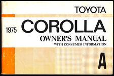 1975 TOYOTA COROLLA ORIGINAL OWNERS DRIVERS MANUAL BOOK & MAINTENANCE SCHEDULE