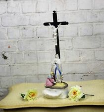 Antique Porcelain Crucifix Christ Holy Water Font  Calvary Mary Magdalene WOW