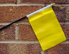 "PLAIN YELLOW SMALL HAND WAVING FLAG 6"" X 4"" WITH POLE"