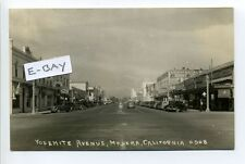 Madera CA Cal RPPC real photo street view, old cars, stores, signs 1925 to 1942