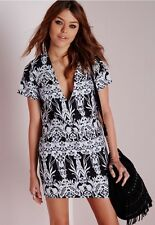 Missguided plunge boxy shift dress black floral US Size 2