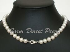 "18"" Inch Genuine 8-9mm White Pearl Necklace Lobster Clasp Cultured Freshwater"