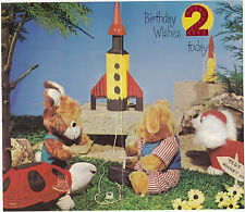 Vintage Toys Happy 2nd Birthday 2 Years Old 1970s Greeting Card ~ Rocket Teddys