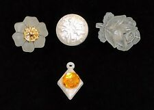 1810~Vintage Clear White Plastic Buttons Rose Flowers Round Diamond Fx Rhineston