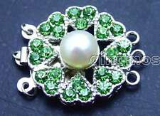 SALE Big 8-9mm Natural White pearl 25mm Round 3 Strand Clasp & Green crystal-181