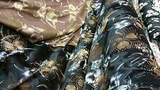New Top Quality black burn out  Velvet Fabric Brown/cream Floral  Print 54''w