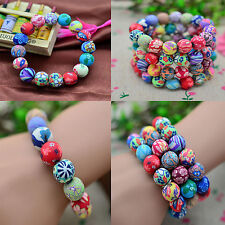 Newest Fashion Women Men Polymer Clay Flower Colorful Round Beads Bracelet Gift