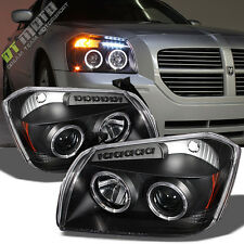 Black 2005 2006 2007 Dodge Magnum Halo Projector LED Headlights Light Left+Right