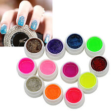 12 COLORS GLITTER ACRYLIC UV GEL BUILDER FOR NAIL ART FALSE TIPS SET FESTIVE