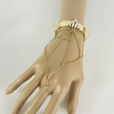 Women Gold Metal Pyramid White Hand Chain Thin Fashion Bracelet Cuff Slave Ring
