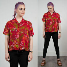 WOMENS RED FLORAL TROPICAL PATTERN VINTAGE HAWAIIAN SHIRT BLOUSE SUMMER TIKI 16