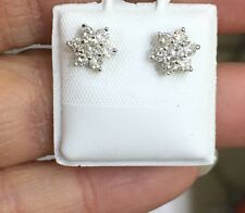 18k Solid White Gold Cluster Stud Flower Earrings W/ Natural Diamonds 2.17GM
