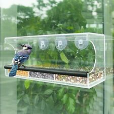 Clear Large Acrylic Window Bird Feeder with All Weather Strong Suction Mount