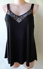 Autograph plus size18 black sleeveless beaded long top NWT FREE POST
