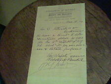 1908 memo from Woolston & Buckle painters and decorators Plainfield, N.J.