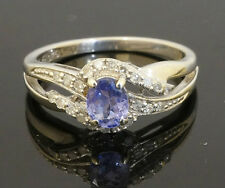 9Carat White Gold Oval Tanzanite & Diamond Cluster Ring W/ Accents (Size I 1/2)