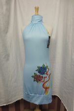 New NWT Ed Hardy Blue Dog Collar Halter Dress Roses Cross Sz Large