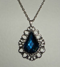 DRAMATIC LARGE BLUE FACETED ACRYLIC CRYSTAL DARK SILVER PLATED PRINCESS PENDANT