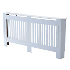 Radiator Cover Painted Slatted Cabinet MDF Vertical Modern Style White