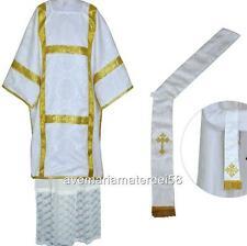 White Deacon Dalmatic Vestment Set with Stole and Maniple S,M,L,Regular Sizes