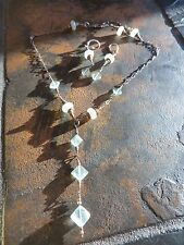 ART DECO Faceted Green Stones/Sterling /brass Lavalier Necklace /Earrings