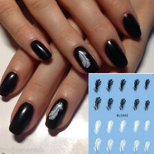 Nail Art Water Decals Decoration Black White Feathers Gel Polish (892)
