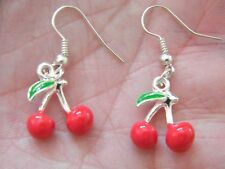 CHERRY EARRINGS LUCKY Las Vegas GAMBLING CHARM Slot Machine Silver Ear Wires NEW