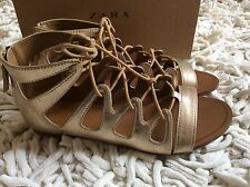 ZARA Flat Metallic Gold Roman sandals SIZE UK 5 EUR 38 NEW!