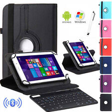 """Gift Fr 10"""" 10.1"""" Tablet Bluetooth Keyboard +360 Rotate Leather Stand Case Cover"""